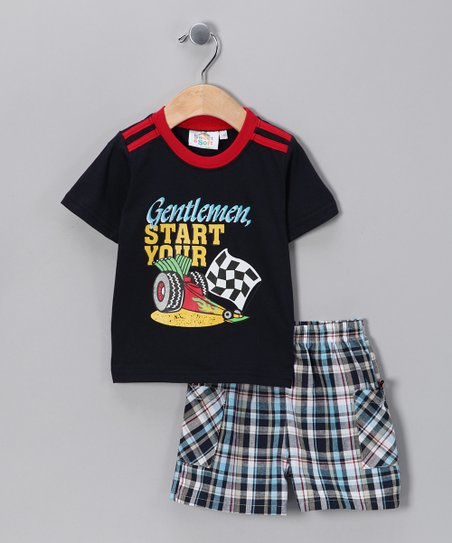 Navy Racecar Tee &amp; Shorts