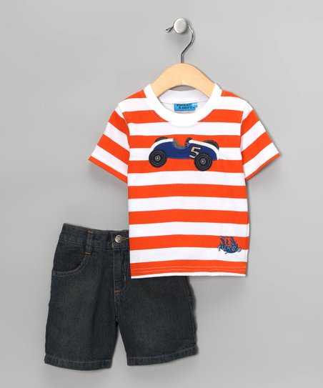 Orange Stripe Race Car Tee & Shorts