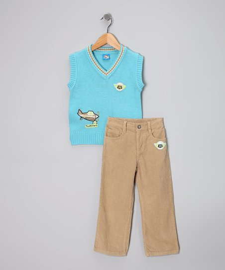 Light Blue 'Travel' Sweater Vest & Pants - Toddler