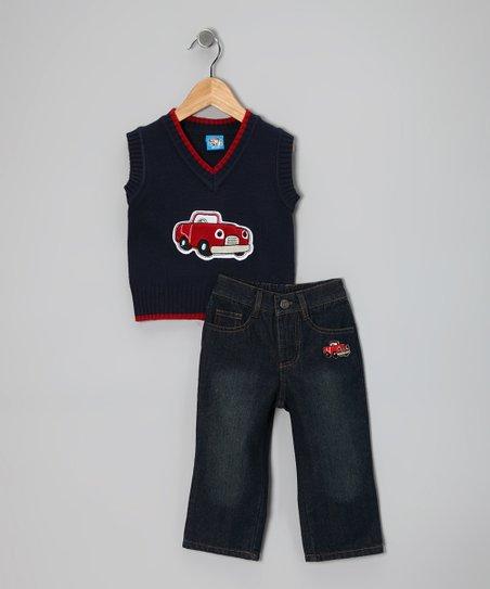 Navy Car Sweater Vest & Jeans - Toddler