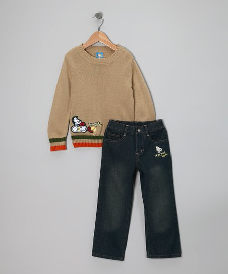 Light Tan 'Tractor Work' Sweater & Jeans - Toddler