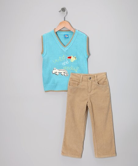Light Blue 'Wild' Sweater Vest & Pants - Toddler