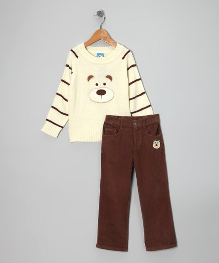 Cream & Brown Stripe Bear Sweater & Pants - Toddler