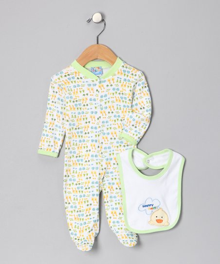 Green Duck 'Happy Day' Footie & Bib - Infant