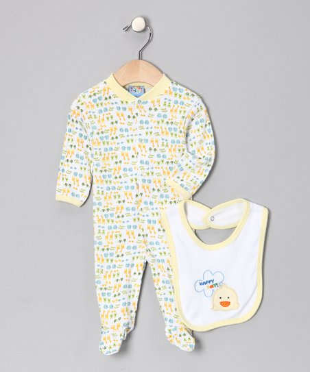 Yellow 'Happy Day' Footie & Bib - Infant