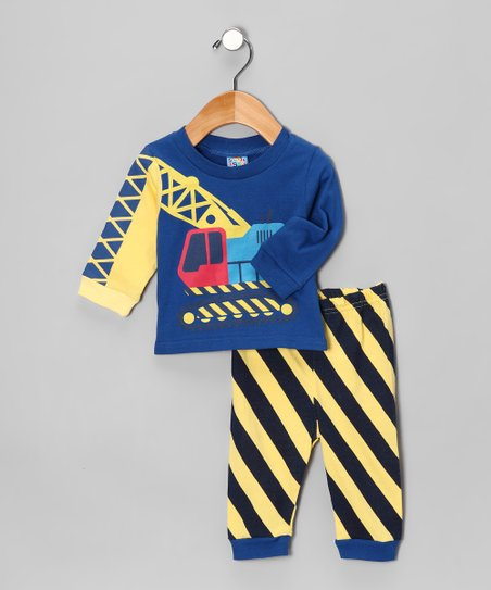Blue Digger Long-Sleeve Tee & Pants - Infant