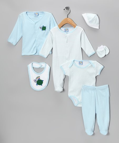 Blue 'Wave Rider' Seven-Piece Layette Set