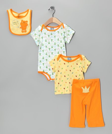 Yellow 'Mommy's Little Prince' Bodysuit Set