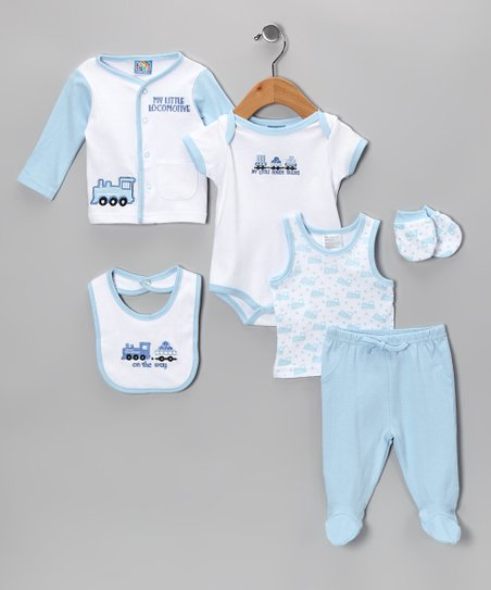 Blue 'On the Way' Six-Piece Layette Set