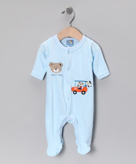 Light Blue 'Hello There' Footie - Infant