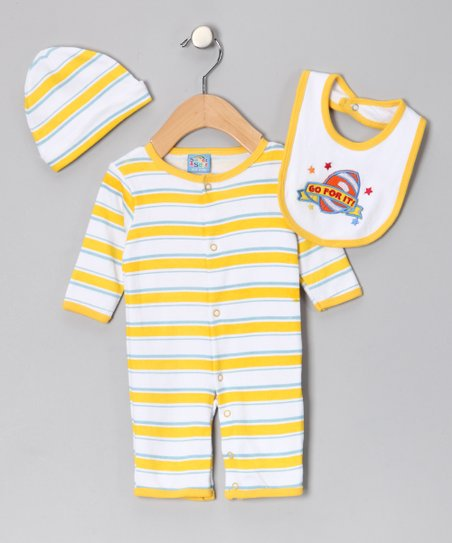 Yellow 'Go for It' Playsuit Set