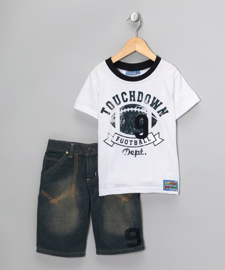 White 'Touchdown' Tee & Shorts - Boys