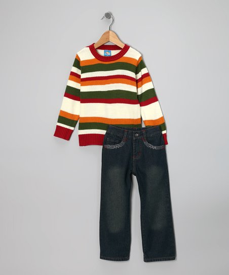 Red Stripe Sweater & Jeans - Infant & Toddler