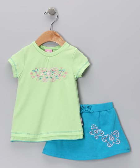 Blue & Green Butterfly Tee & Skirt