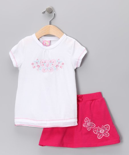 Hot Pink & White Butterfly Tee & Skirt