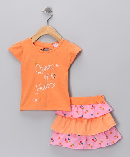 Orange 'Queen of Hearts' Tee & Skirt