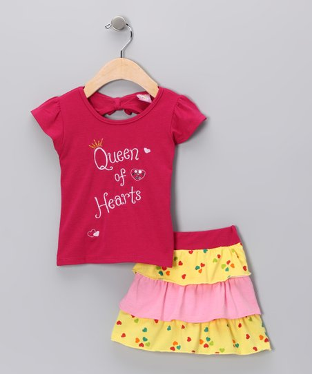 Pink &#039;Queen of Hearts&#039; Tee &amp; Skirt