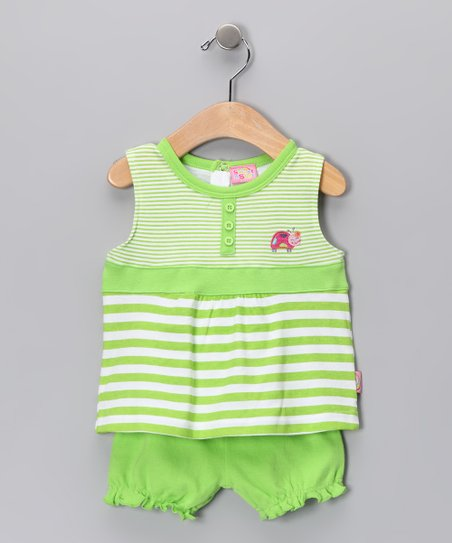 Green Stripe Lady Bug Tank & Bloomers