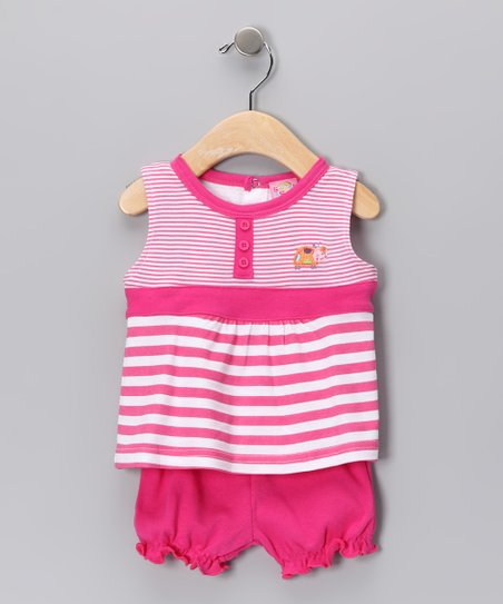 Pink Stripe Lady Bug Tank & Bloomers