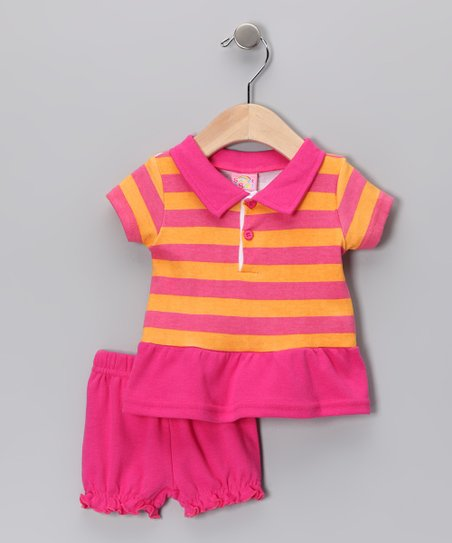 Pink Stripe Polo & Bloomers
