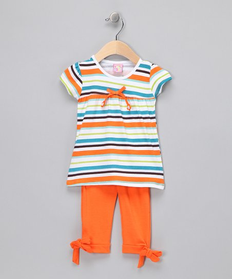 Orange Stripe Top & Leggings - Toddler