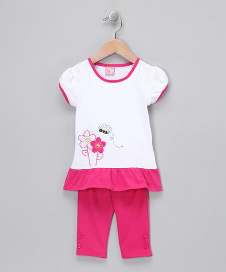 Pink Floral Skirted Top & Leggings - Toddler