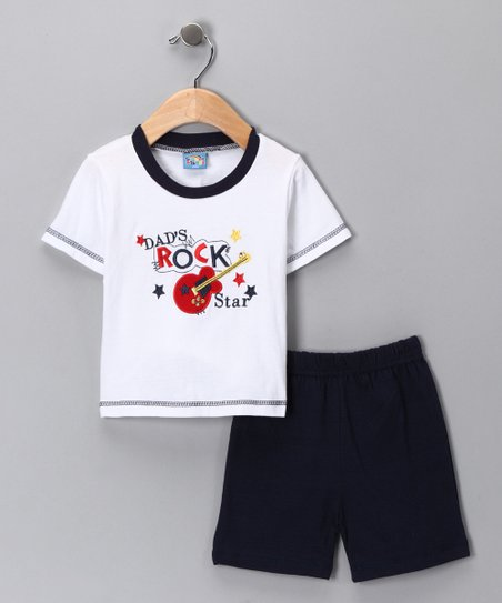 White 'Dad's Rock Star' Tee & Shorts