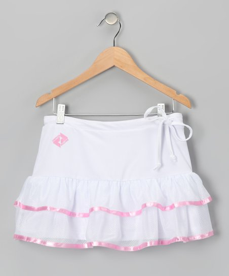 White & Pink Trim Ruffle Tennis Skort - Girls