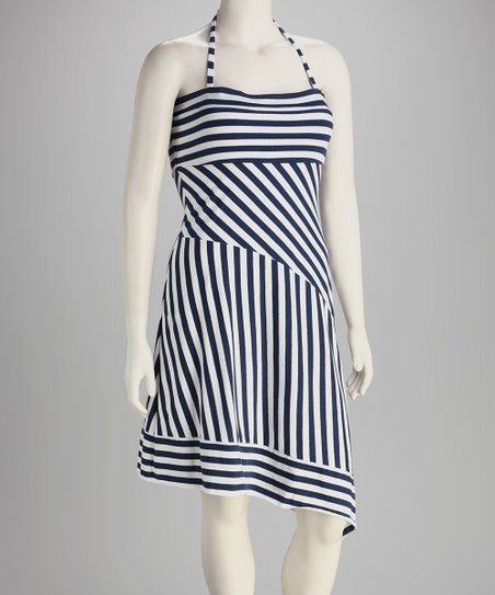 Navy & White Stripe Organic Halter Dress