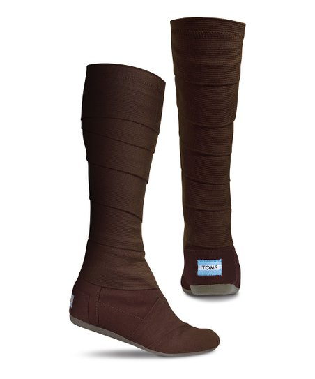Brown Canvas Vegan Wrap Boot - Women