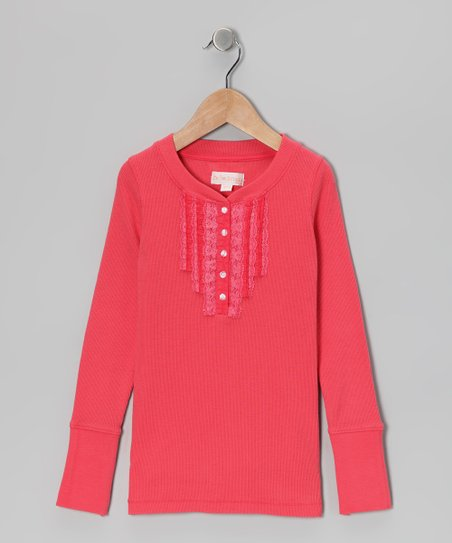 Salmon Lace Henley - Girls