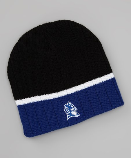 Black & Blue Duke Stripe Beanie - Kids