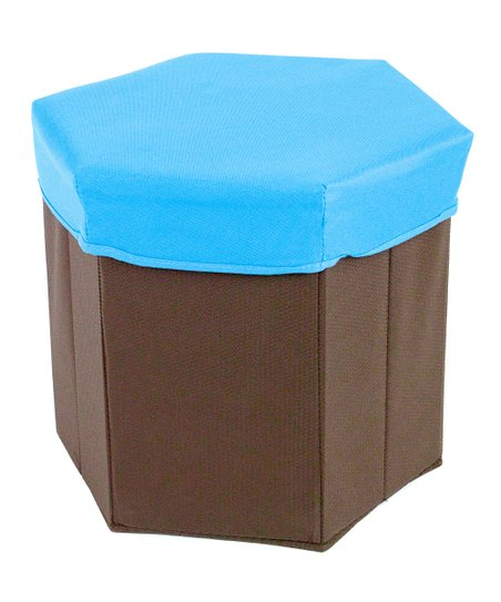 Blue Hexagonal Storage Bin Stool