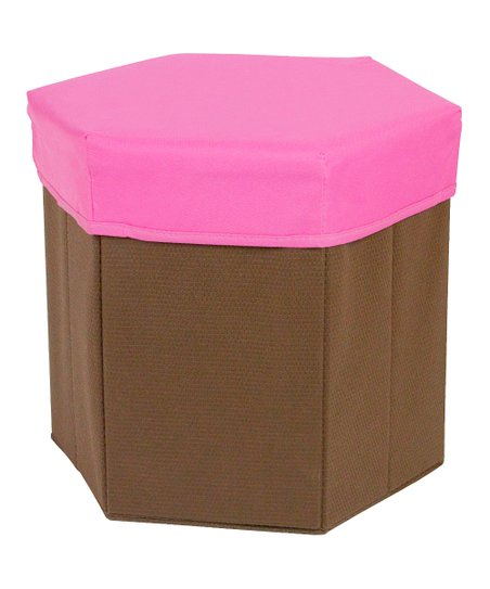 Pink Hexagonal Storage Bin Stool