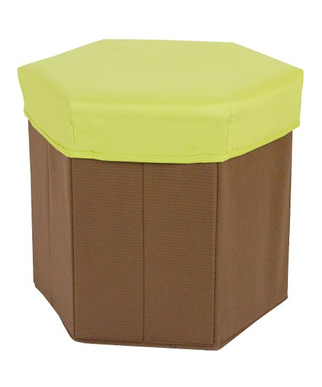 Green Hexagonal Storage Bin Stool