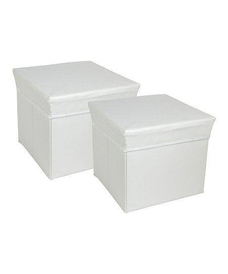 White Square Storage Bin Stool - Set of Two