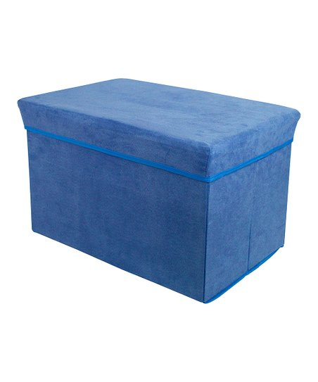 Blue Rectangular Storage Bin Stool