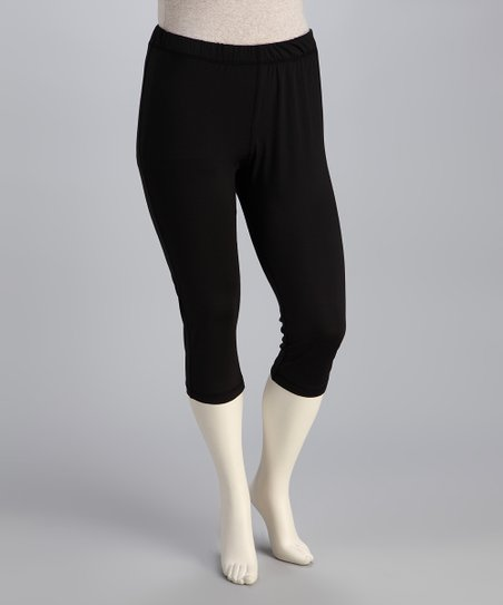 Black Taffy Plus-Size Capri Pants