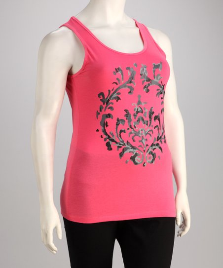 Pink Filigree Tank - Plus