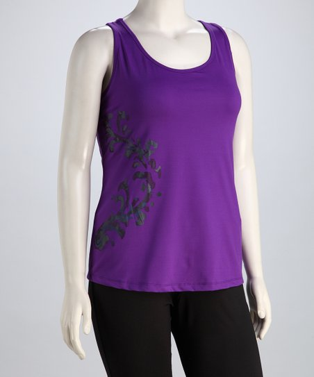 Plum Scroll Plus-Size Racerback Tank