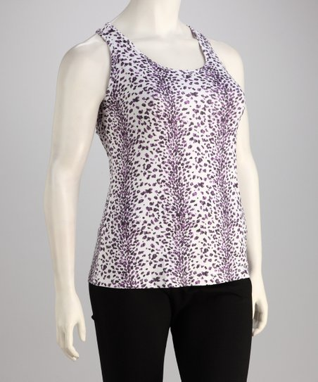 White Cheetah Plus-Size Racerback Tank