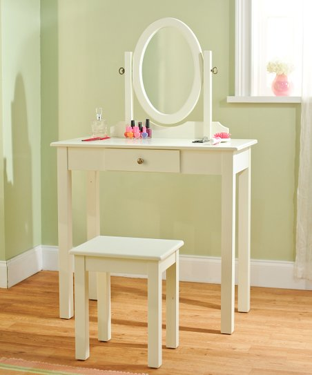 Antique White Three-Piece Vanity Set
