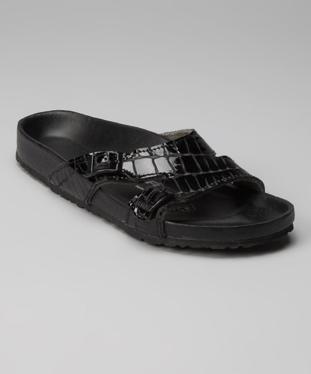 Black Crocodile Shakina Slide - Women