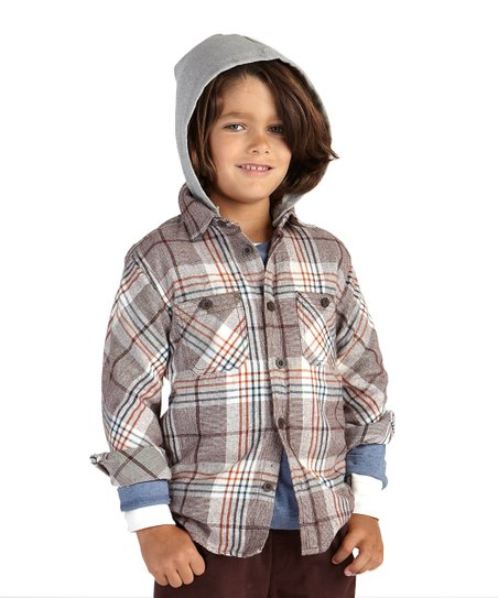 Mushroom Playa Plaid Hooded Shirt - Infant, Toddler & Boys