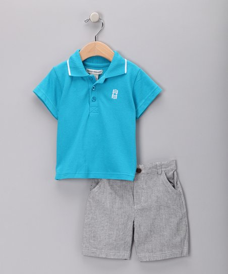 Turquoise Polo &amp; Gray Shorts - Infant