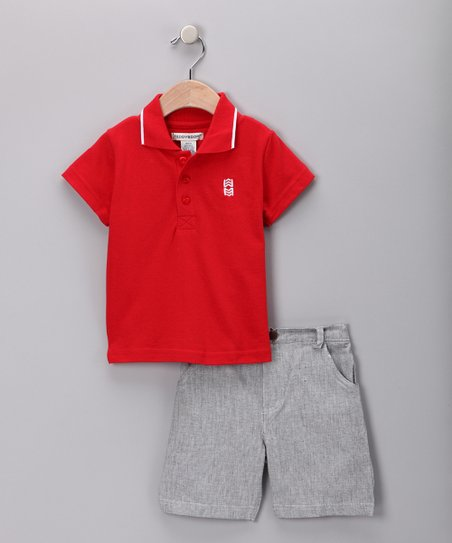 Red Polo & Gray Shorts - Infant & Toddler