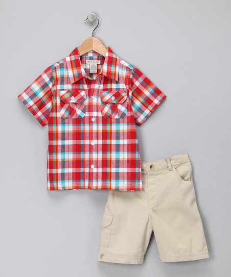 Red Plaid Button-Up Shirt & Shorts - Infant & Toddler