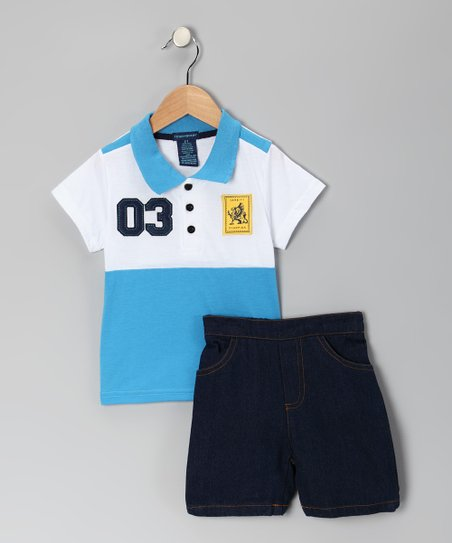 Blue & White Polo & Denim Shorts - Infant