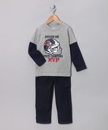 Gray Football Layered Tee & Jeans - Toddler