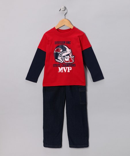 Red Football Layered Tee &amp; Jeans - Infant &amp; Toddler